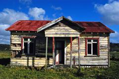 deserted farm house, nz - stock photo