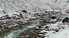 Snow melts in the mountains. Time Lapse - stock footage