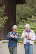 Stock Photo of Mature couple carrying apples, smiling