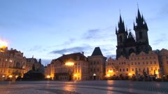 Tyne Church and Old Town Square, Pre-Dawn - Prague, Czech Republic Stock Footage