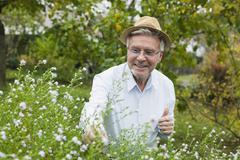 Stock Photo of Germany, Kratzeburg, Senior man doing flower gardening
