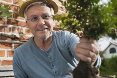 Germany, Kratzeburg, Senior man doing gardening Stock Photos