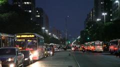 Commuters ride buses home at Avenida Presidente Vargas Rio De Janeiro, Brazil - stock footage