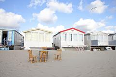 View at beach houses on beach in ijmuiden, the netherlands Stock Photos