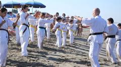 Kids practicing karate Stock Footage