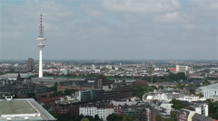 Hamburg Germany Aerial 2 heinrich hertz tower Stock Footage