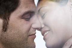 Spain, Majorca, Young couple romancing, close up - stock photo