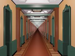 never ending art deco corridor - stock illustration