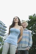 Stock Photo of Teenage couple on city street