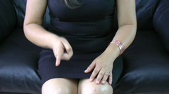 Frustrated business woman making hand expression Stock Footage