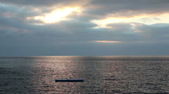 Raft on the morning sea Stock Footage