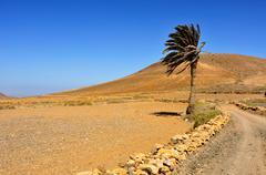 tindaya mountain in la oliva, fuerteventura, canary islands, spain - stock photo