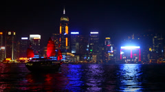 Red Sail junk boat across Hong Kong Skyline Stock Footage
