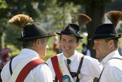 Austria, Salzkammergut, Land Salzburg, Men wearing traditional costume and hat Stock Photos