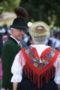 Austria, Salzburg, Senior woman and man wearing traditional costume and hat Stock Photos