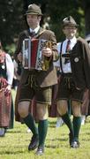 Austria, Salzkammergut, Upper Austria, Man playing accordion - stock photo