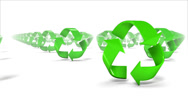 Stock Video Footage of Endless Recycle symbols front view loop