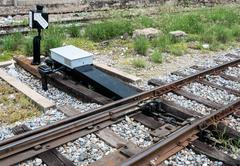 new railroad switch - stock photo