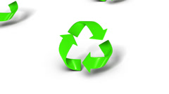 Stock Video Footage of High angle up from single Recycle symbol revealing many