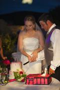 USA, Texas, Bride and groom cutting cake Stock Photos