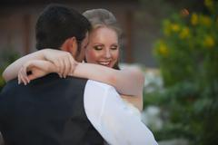 USA, Texas, Bride and groom romancing, close up - stock photo