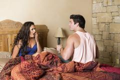 USA, Texas, Young couple waking up - stock photo
