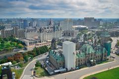 Ottawa city skyline view with historical buildings Stock Photos