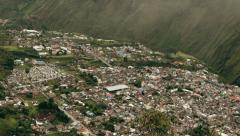 Clouds unveiling the city of Banos, popular tourist destination in Ecuador, Stock Footage