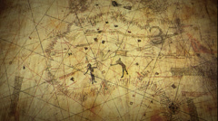 Ancient Map on Scroll Paper Stock Footage