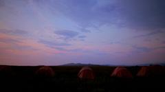 Tourist tent on nature sunset time lapse Stock Footage