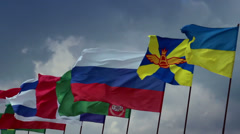 Many countries flags on flagpoles. Ukrainian, Russian, Turkmen, click for HD Stock Footage
