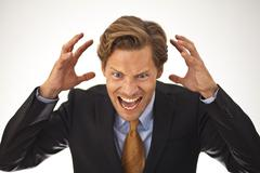 Angry businessman shouting Stock Photos