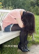 Germany, Berlin, Young woman in depression Stock Photos