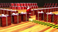 Christmas clip of Santa Claus directing presents in warehouse Stock Footage