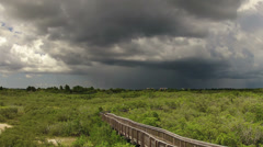 Storm clouds over wetlands preserve time lapse Stock Footage