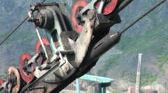 Wheels of old Soviet cable car in Alaverdi town, Armenia - stock footage