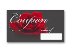 Coupon card with red rose against white background, close up - stock illustration