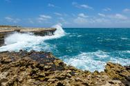 Stock Photo of rocky coastline near devil's bridge antigua