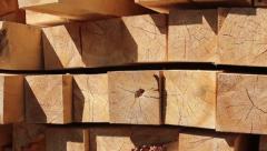 Stack of square wooden chips at construction yard. , click for HD Stock Footage