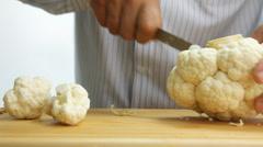 Cutting cauliflower Stock Footage