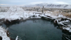 Desert hot springs in winter, high desert country, 1034  Stock Footage