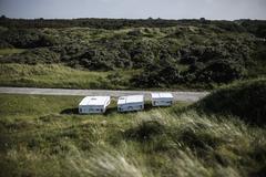 Netherlands, Caravan on medow Stock Photos