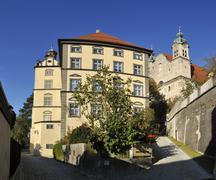 Germany, Landsberg am Lech, View of Neues Stadtmuseum and Heilig Kreuz Kirche - stock photo