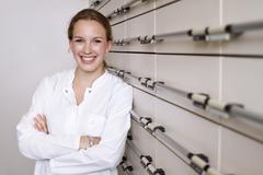 Germany, Brandenburg, Pharmacist smiling, portrait Stock Photos