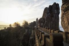 Stock Photo of Germany, Saxony, View of Saxon Switzerland National Park at sunset