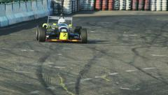 Formula 1 F1 driving cars on track during competition racing, click for HD - stock footage