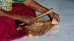 Traditional woodcarver in Fiji Stock Footage