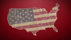 Separated United States map with US flag, red background, click for HD Stock Footage