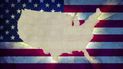 Unites States America map with national flag, old glory, click for HD Stock Footage