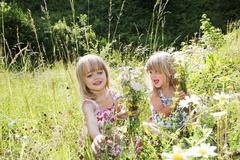 Austria, Salzburg County, Girls picking flowers in summer meadow - stock photo
